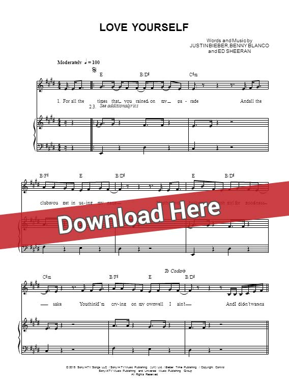 Piano piano chords of love yourself : Justin Bieber Love Yourself Sheet Music, Piano Notes, Chords