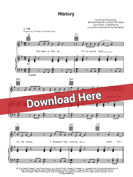 Piano piano tabs notes : One Direction History Sheet Music, Piano Notes, Chords Download