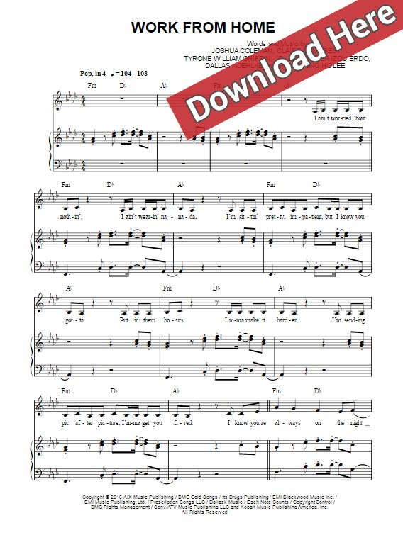 Piano how piano chords work : Fifth Harmony Work From Home Sheet Music, Piano Notes, Chords