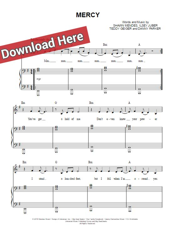 Piano tablature piano debutant : Shawn Mendes Mercy Sheet Music, Piano Notes, Chords