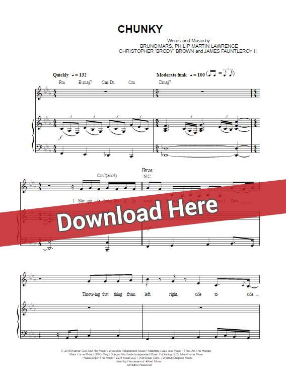 bruno mars, chunky, sheet music, piano notes, chords, download, pdf, guitar, klavier noten, voice, vocals