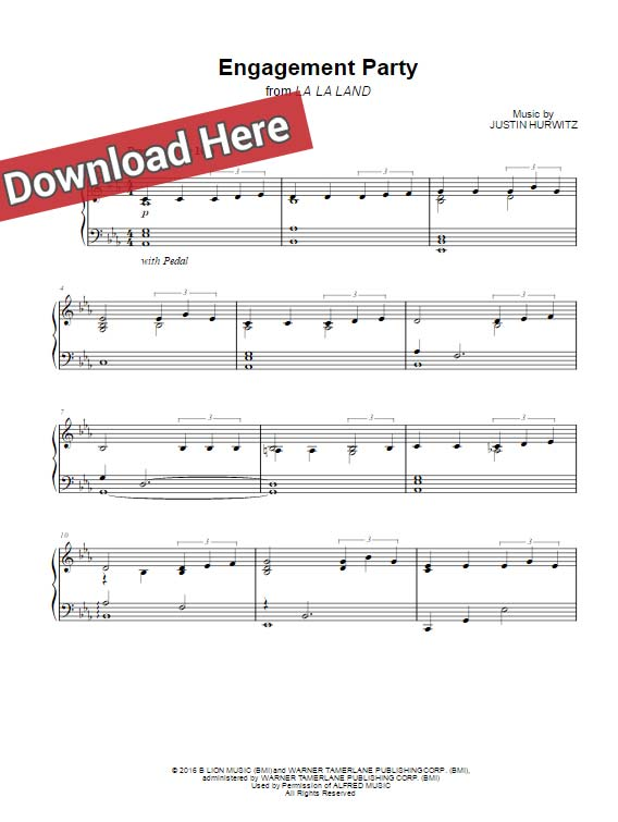 la la land, engagement party, sheet music, piano notes, chords, download, klavier noten, keyboard, voice, vocals