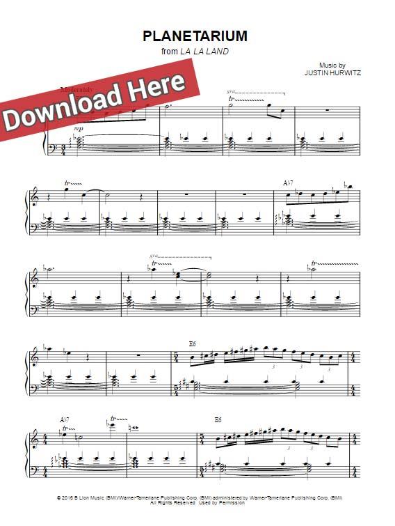 la la land free sheet music