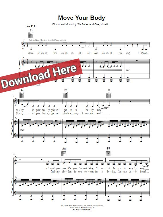 sia, move your body, sheet music, piano notes, chords, klavier noten, download, print, pdf, how to play, tutorial