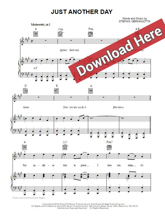 lady gaga, just another day, sheet music, piano notes, chords, download, klavier noten, pdf, voice, vocals, guitar