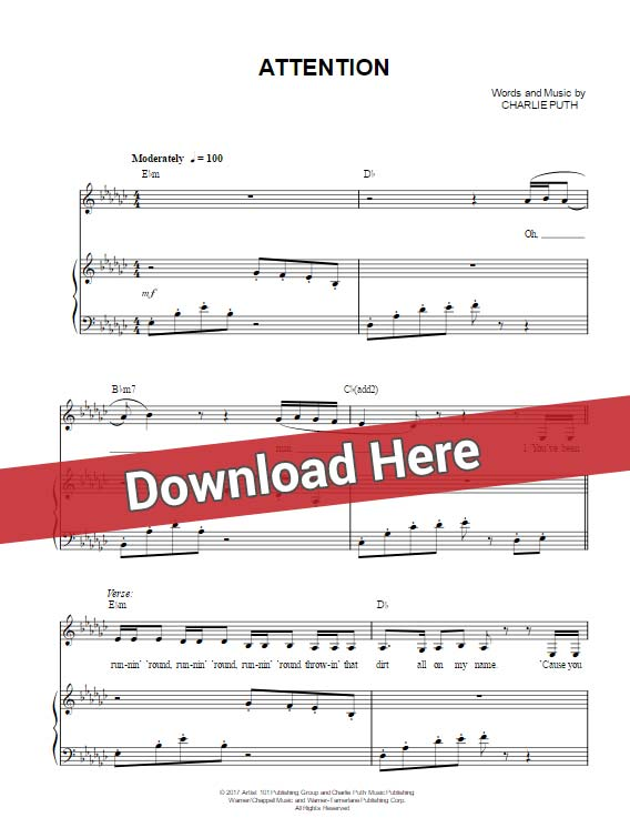 charlie puth, attention, sheet music, piano notes, chords, download, keyboard, klavier noten