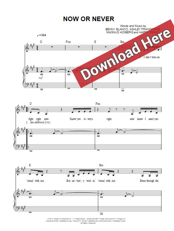 halsey, now or never, sheet music, piano notes, chords, download, keyboard, vocals, klavier noten