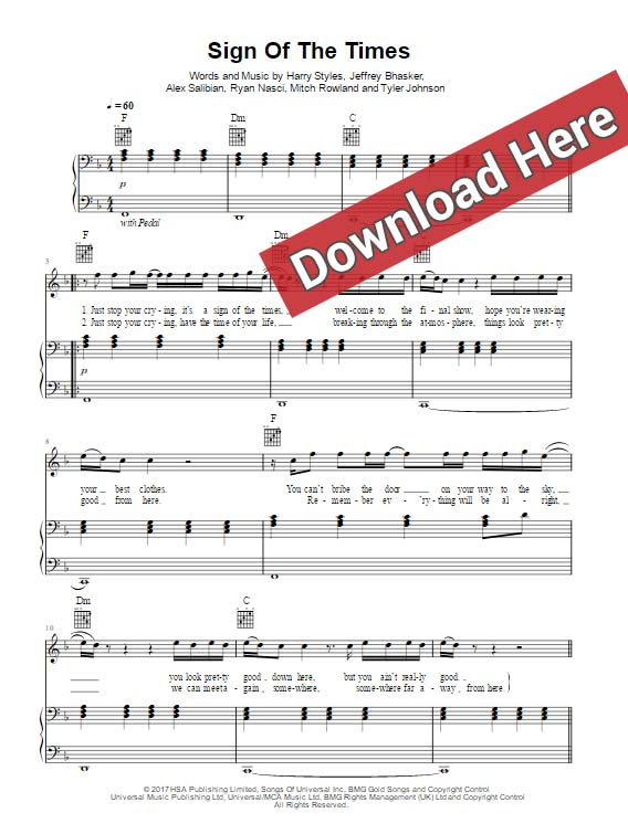 Harry Styles - Sign of the Times Sheet Music, Piano Notes