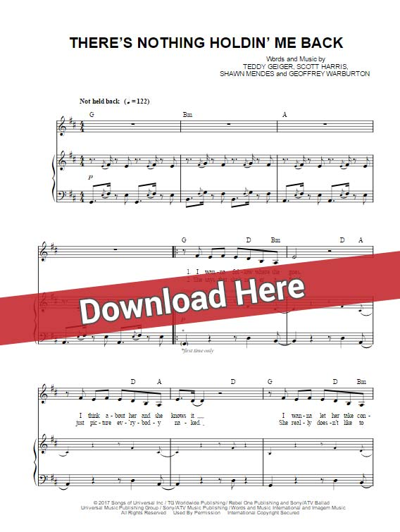 shawn mendes, there's nothing holdin' me back, sheet music, piano notes, chords, download, keyboard, vocals, klavier noten, tutorial, lesson