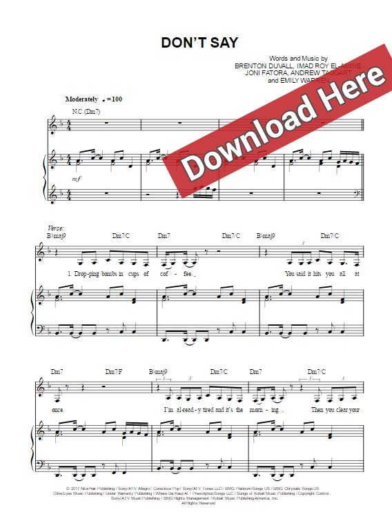 the chainsmokers, don't say, sheet music, emily warren, chords, piano notes, score, keyboard, voice, download, pdf, klavier noten