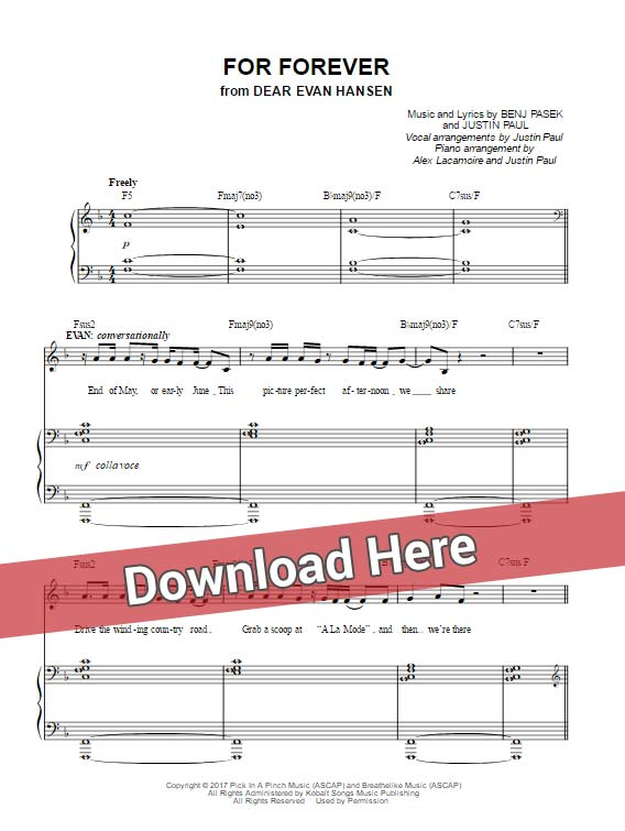 dear evan hansen, for forever, sheet music, piano notes, chords, klaiver noten, transpose
