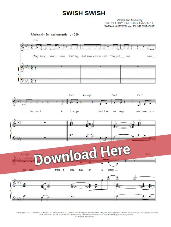 katy perry, swish swish, sheet music, nicki minaj, piano notes, chords, download, pdf, klavier noten, composition, transpose