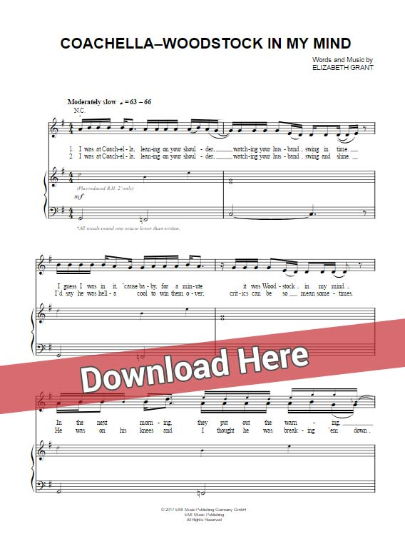 Lana Del Rey, Coachella Woodstock In My Mind, sheet music, piano notes, score, chords, download, keyboard, guitar, bass, tabs, klavier noten, lesson, tutorial, guide, how to play