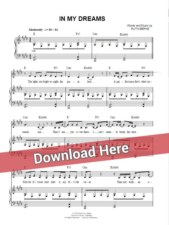 ruth b, in my dreams, sheet music, piano notes, chords, download, keyboard, klavier noten, guitar, composition, transpose