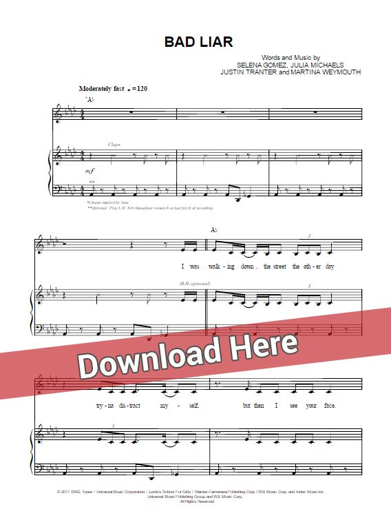 selena gomez, bad liar, sheet music, piano notes, chords, download, transpose, composition, klavier noten