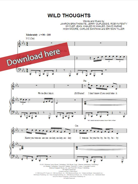 dj khaled, wild things, sheet music, piano notes, chords, rihanna, bryson tiller
