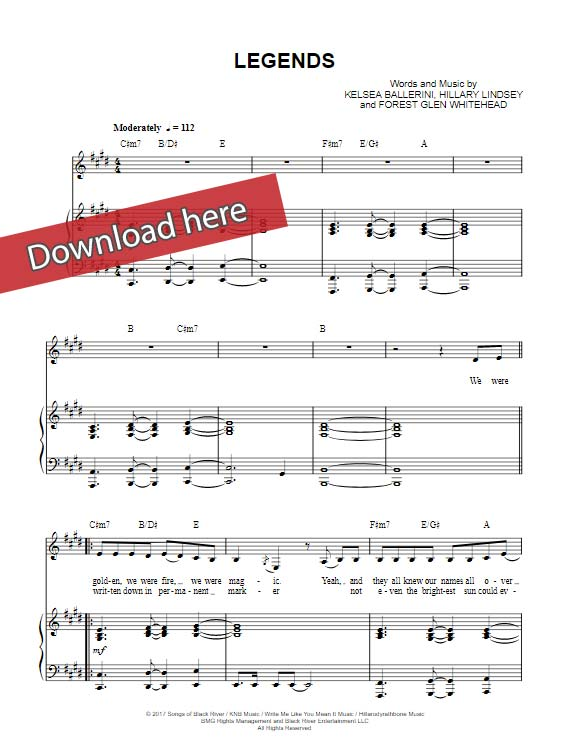 kelsea ballerini, legends, sheet music, piano notes, chords, download, pdf, klavier noten, transpose, composition