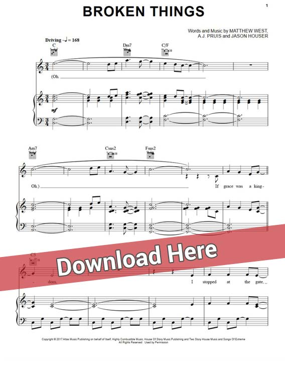 matthew west, broken things, sheet music, piano notes, chords, klavier noten, keyboard, guitar, download, pdf, free
