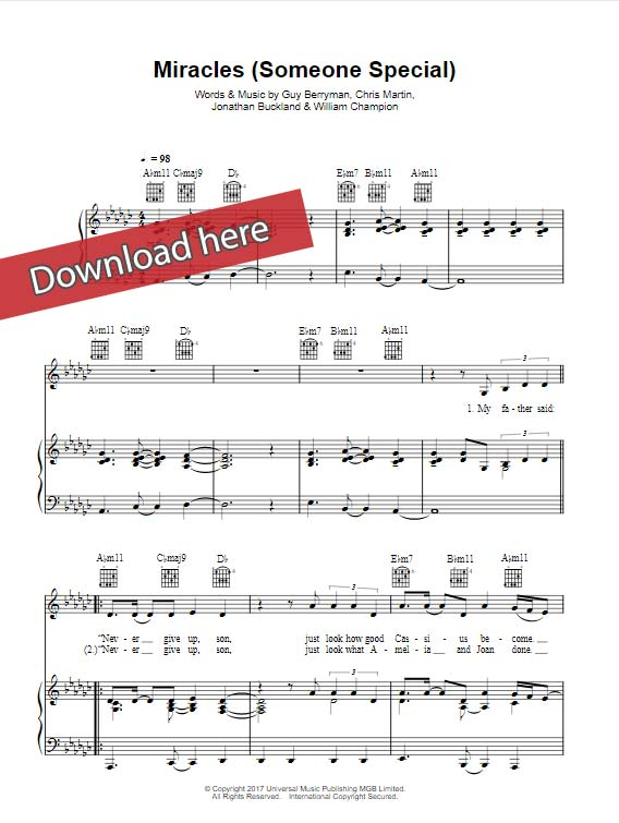 coldplay, miracles, someone special, sheet music, piano notes, chords, klavier noten, keyboard, guitar, tabs, voice, vocals