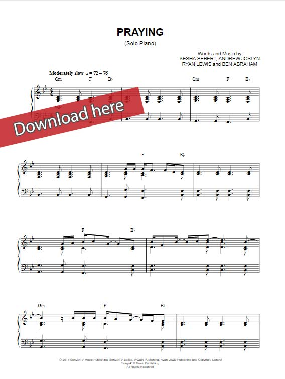 kesha, praying, sheet music, piano notes, klavier noten, keyboard, guitar, voice, vocals, video, tutorial, lesson