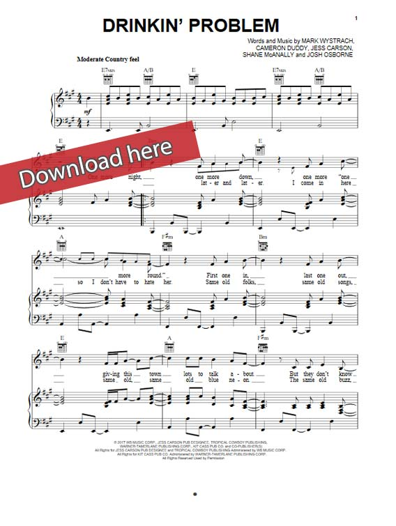 midland, drinkin problem, sheet music, piano notes, guitar chords, tabs, klaiver noten, keyboard, voice, vocals