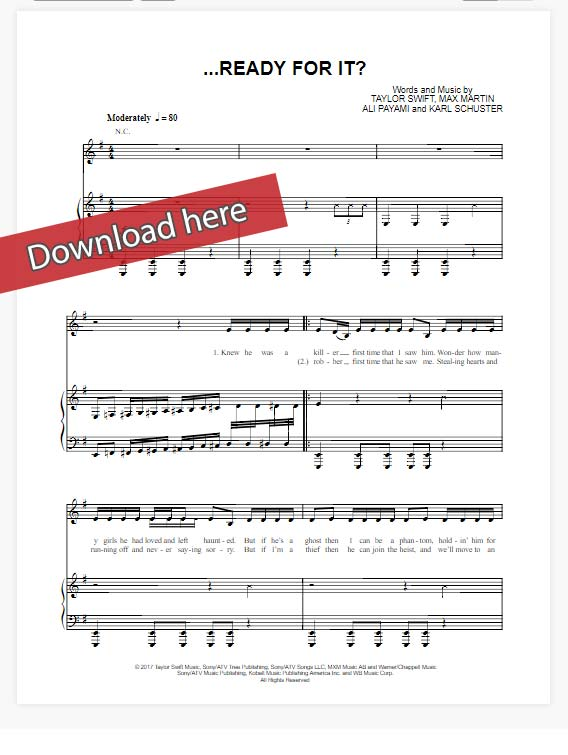 taylor swift, ready for it, sheet music, piano notes, chords, download, klavier noten, pdf, compose, transpose