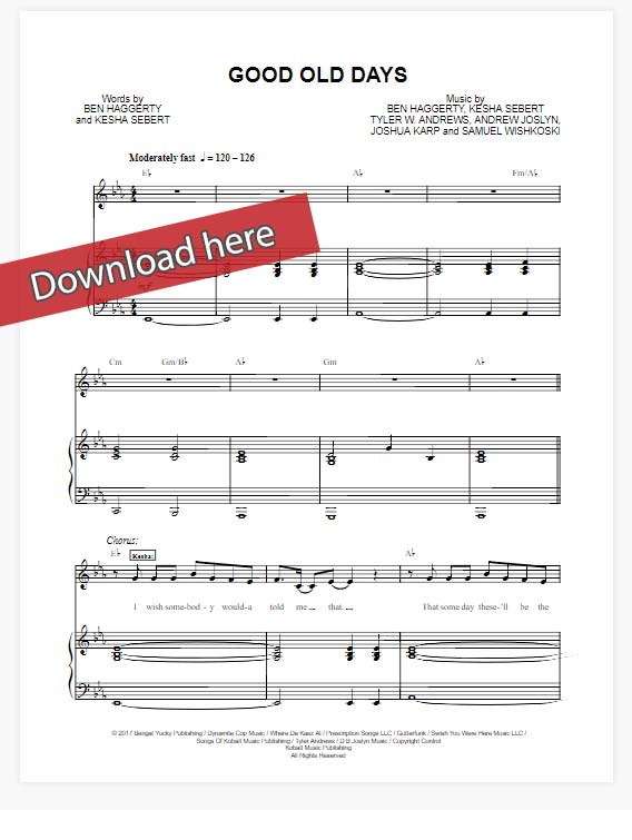macklemore, good old days, sheet music, kesha, piano notes, chords, download, pdf, klaiver noten