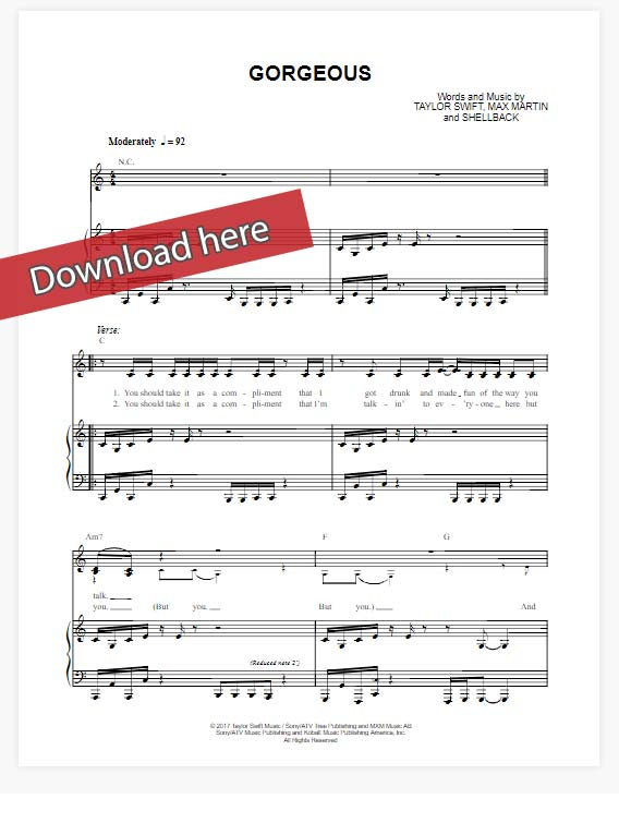 taylor swift, gorgeous, sheet music, piano notes, chords, download, klavier noten, keyboard, guitar, how to play, tutorial