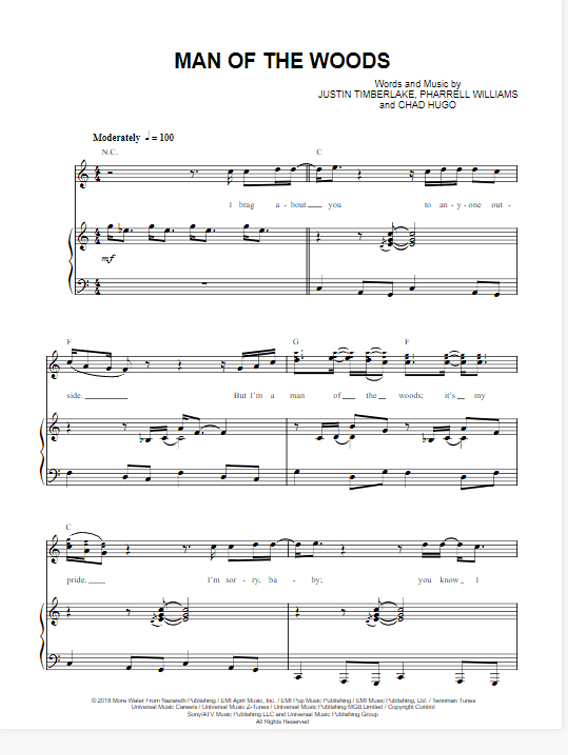 justin timberlake, man of the woods, sheet music, chords, download, pdf, klavier noten, keyboard, guitar, tabs, how to play, transpose