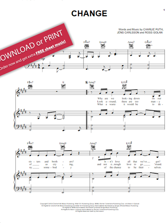 charlie puth, change, sheet music, piano chords, notes, klaviernoten, keyboard, guitar, tabs