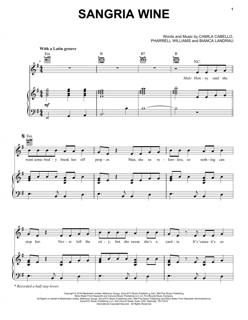 camila cabello, sangria wine , piano chords, sheet music notes, klaviernoten, guitar tabs