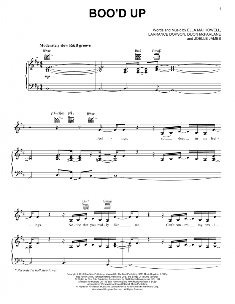 ella mai, boo'd up, sheet music, piano notes, chords, klaviernoten, keyboard, guitar, tabs, how to play, learn, tutorial, composition, arrangement, genre