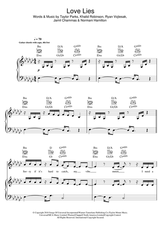 khalid, love lies, sheet music, normani, piano notes, chords, download, pdf, klaviernoten, guide, tutorial, lesson